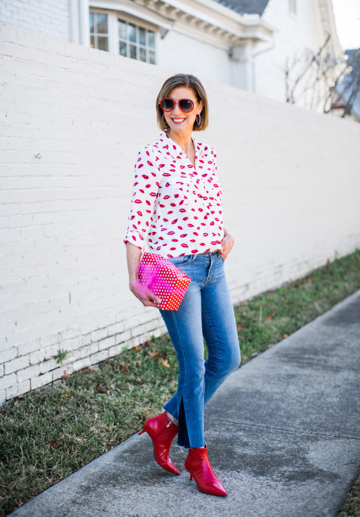 Joie white blouse with red lips for Valentine's Day casual outing