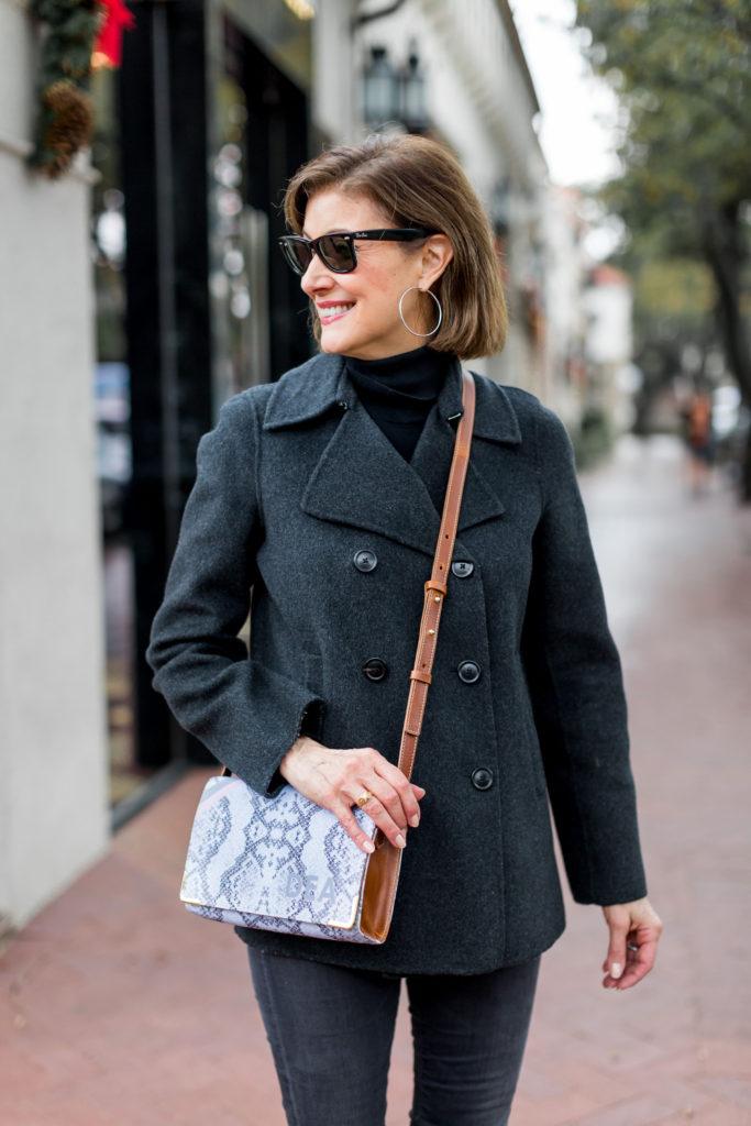 Dallas blogger loves Barrington cross body bag in snakeskin