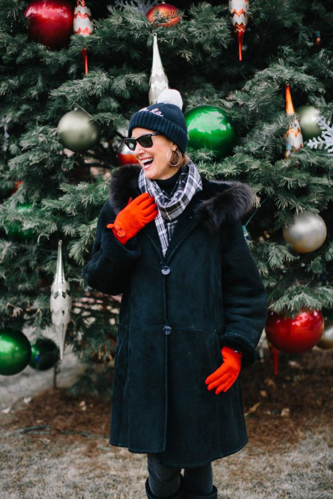 Fashionomics over 50 blogger in shearling coat
