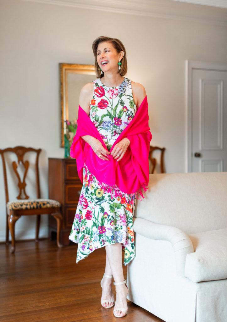 Floral print for Easter dress on over 50 blogger