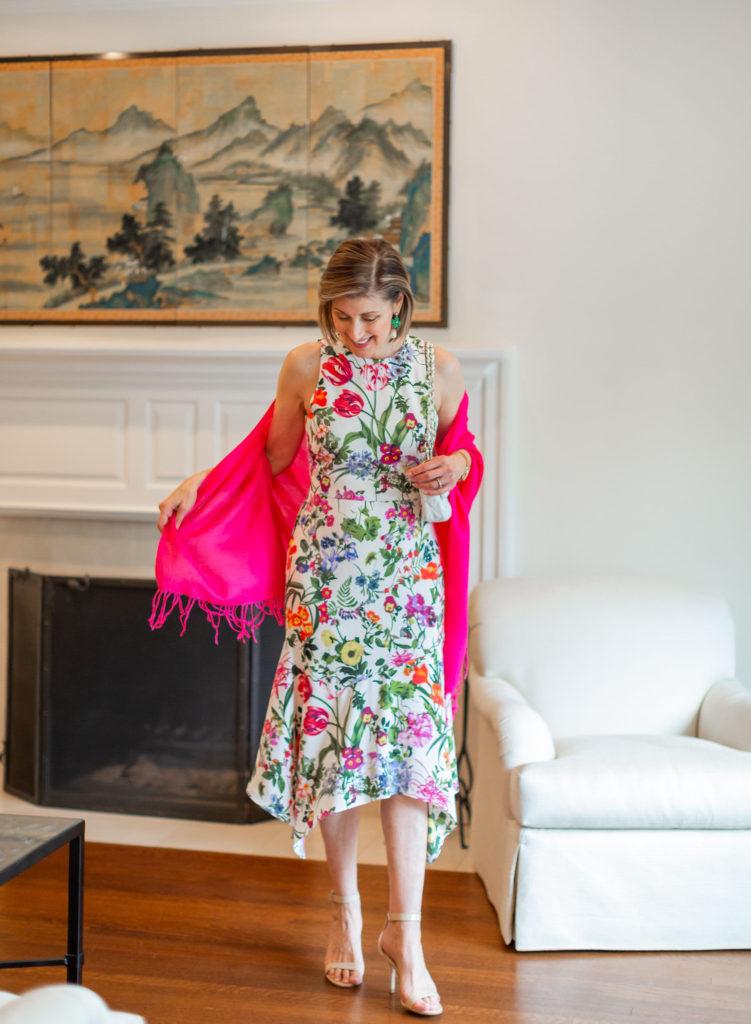 Asymmetrical hem on midi floral dress for Easter