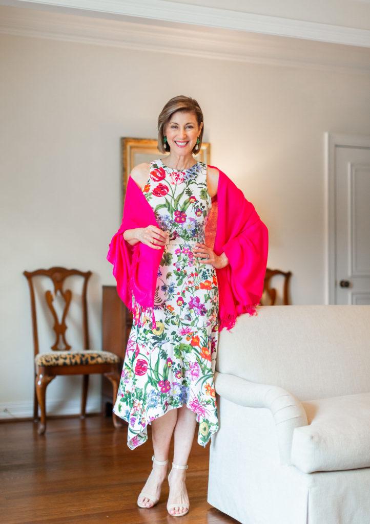 Floral dress by Eliza J on over 50 blogger