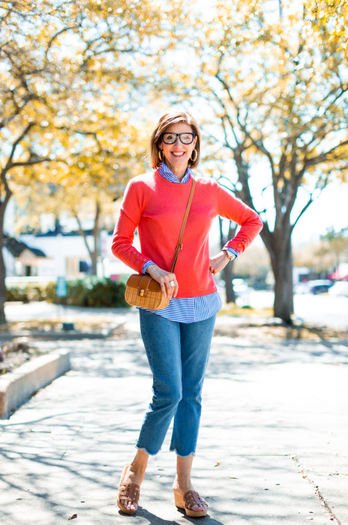 Over 50 blogger in coral cashmere sweater
