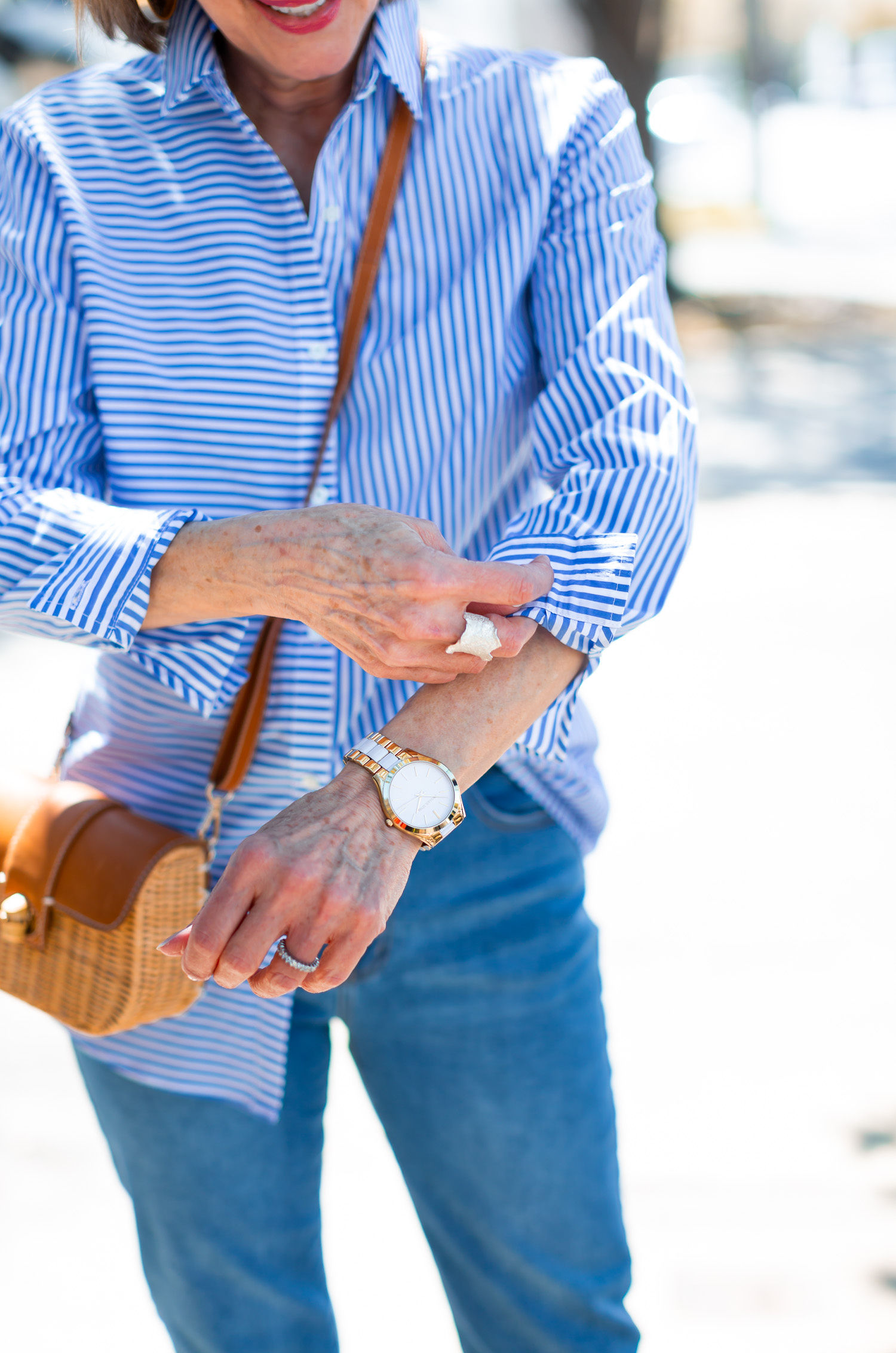 Michael Kors Watch and silver ring by Brenda Schoenfeld worn by Debby Allbright