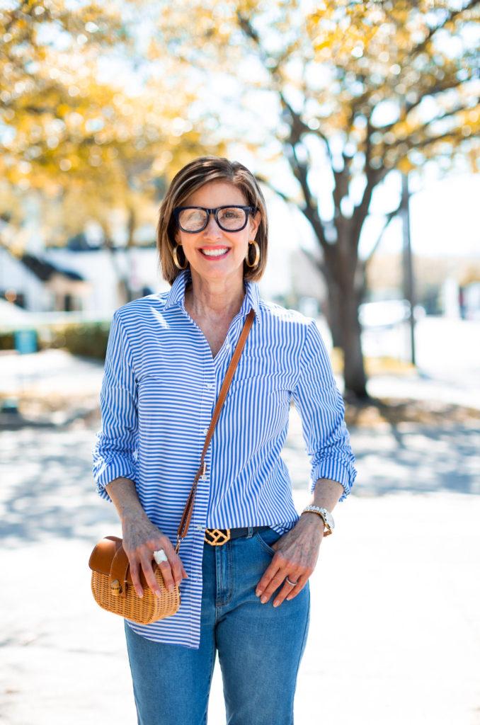 Dallas blogger in stripe shirt