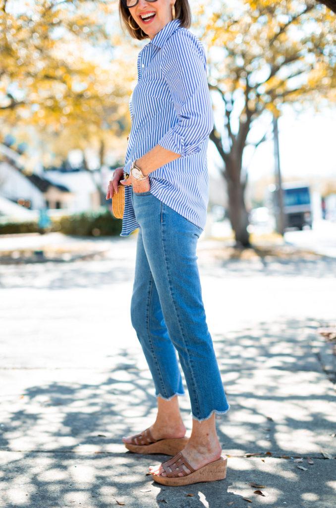 longer shirt tail on JMcLaughlin stripe shirt