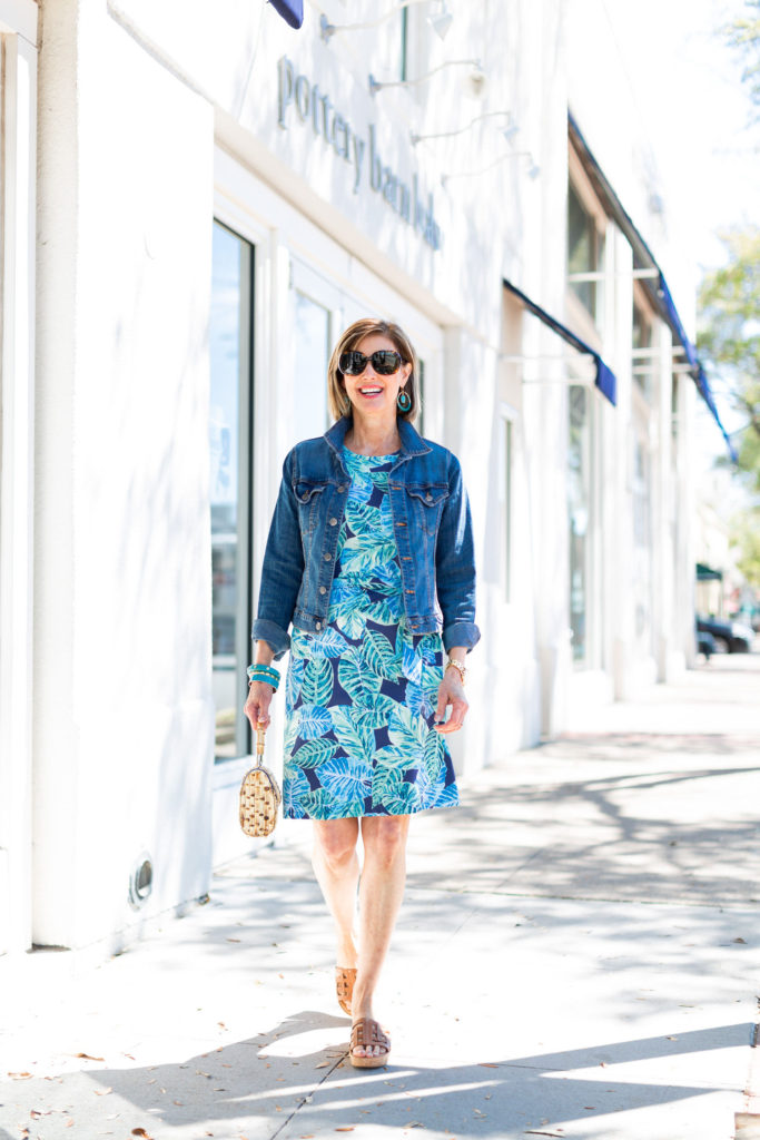 Add a blue jean jacket to your summer dress