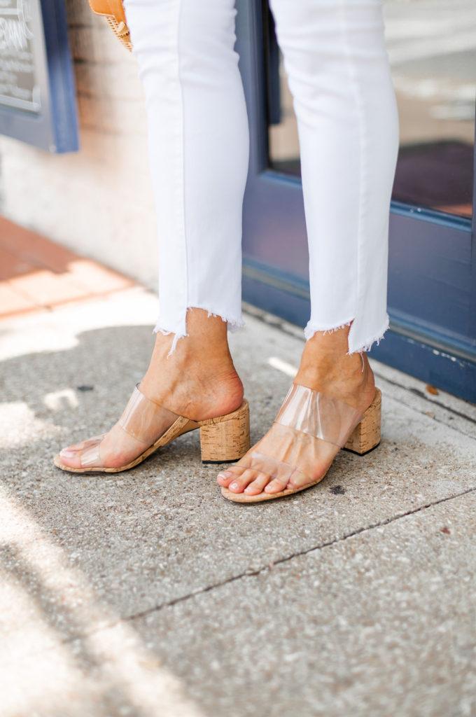 Schutz clear sandals with cork heel are neutral