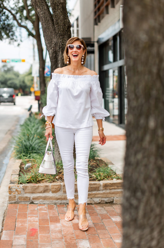 off the shoulder top from Banana republic
