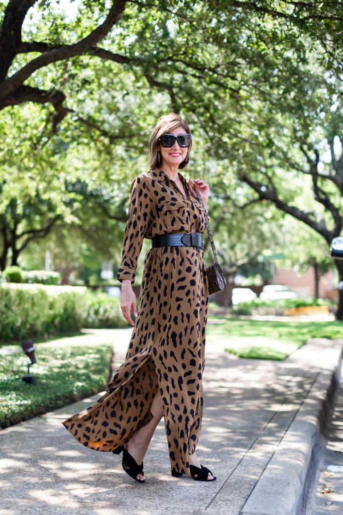 Fashionomics blogger wearing L'egence animal print maxi dress