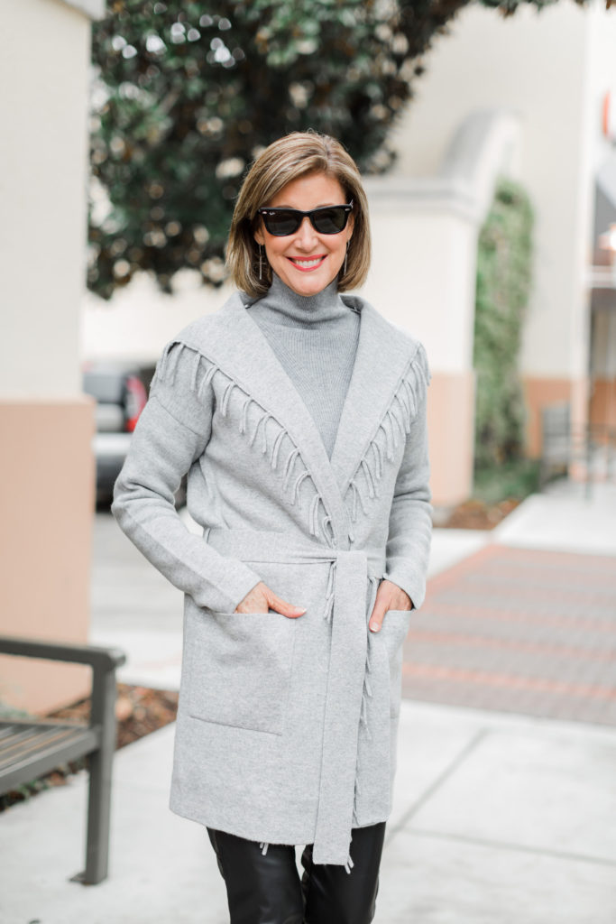 J.McLaughlin Luxe Collection cashmere on over 50 Dallas blogger