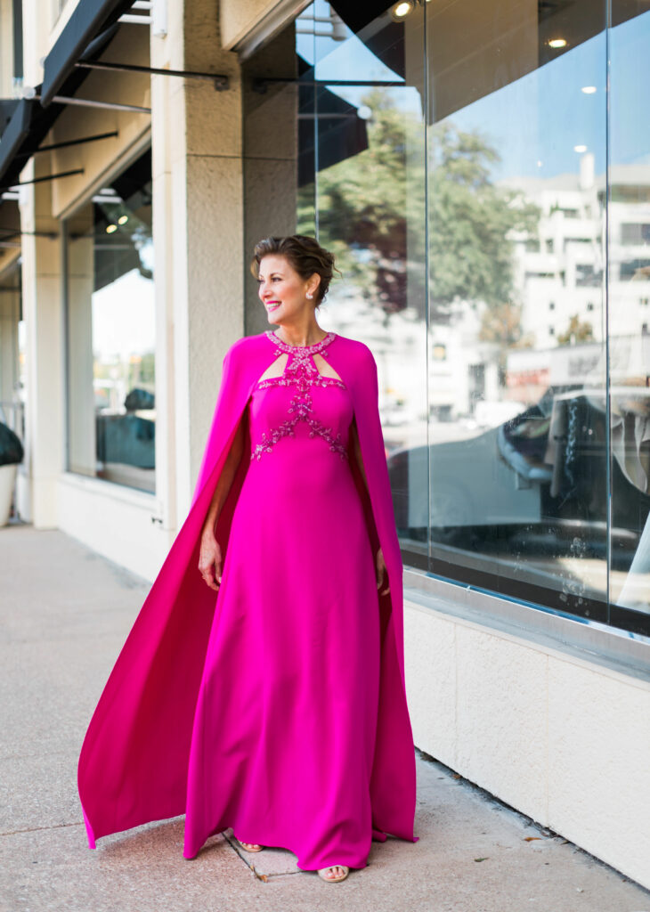 Fuchsia Marchesa gown with long cape