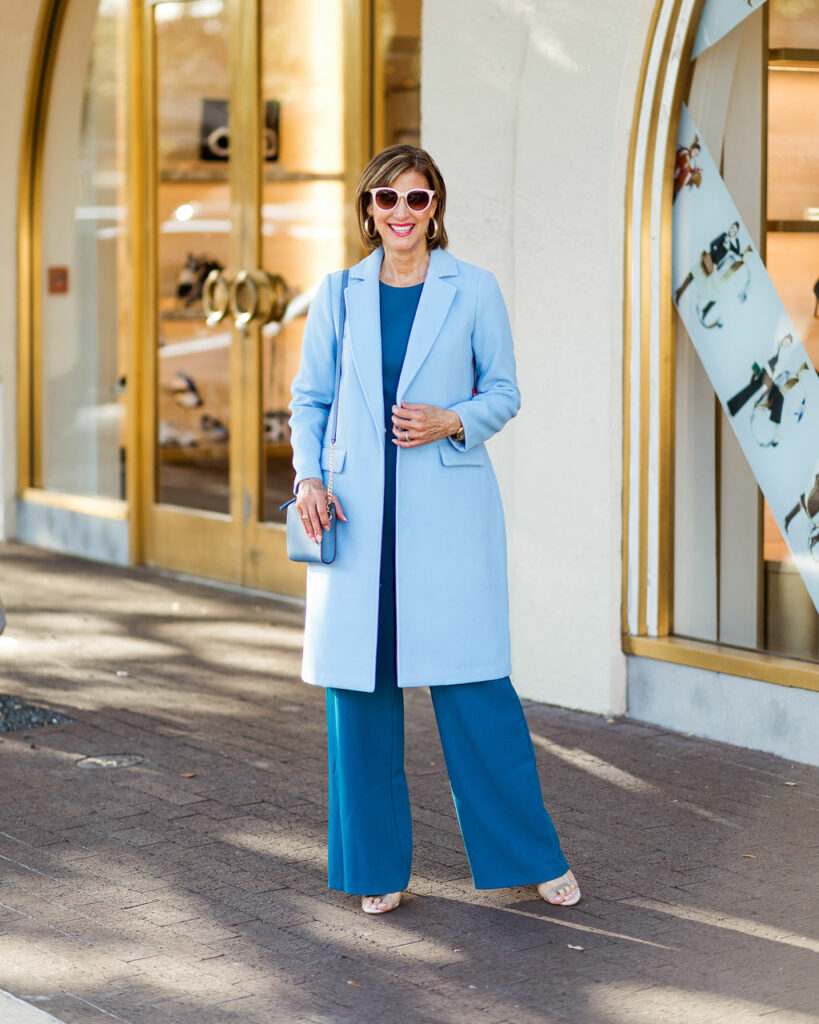 Blue coat just in time for fall on Dallas blogger