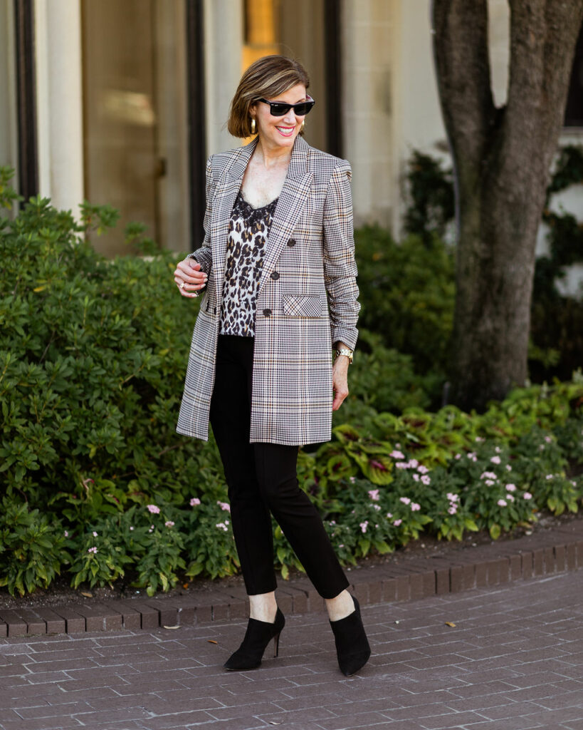 Leopard camisole with black pant and plaid jacket