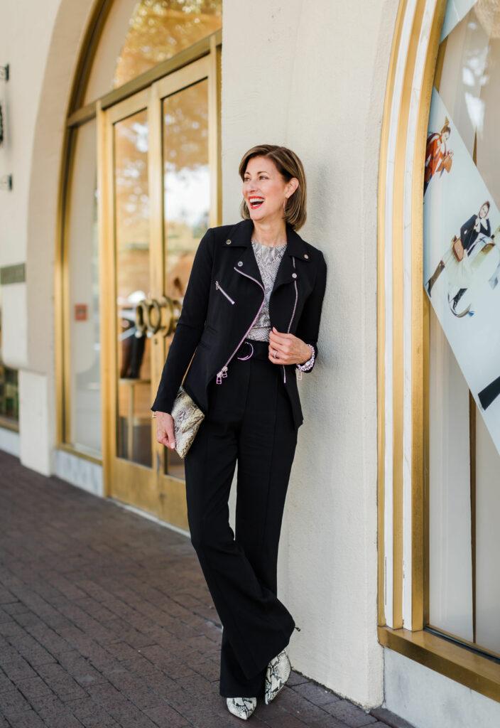 Veronica Beard zip front scuba jacket on Dallas Blogger