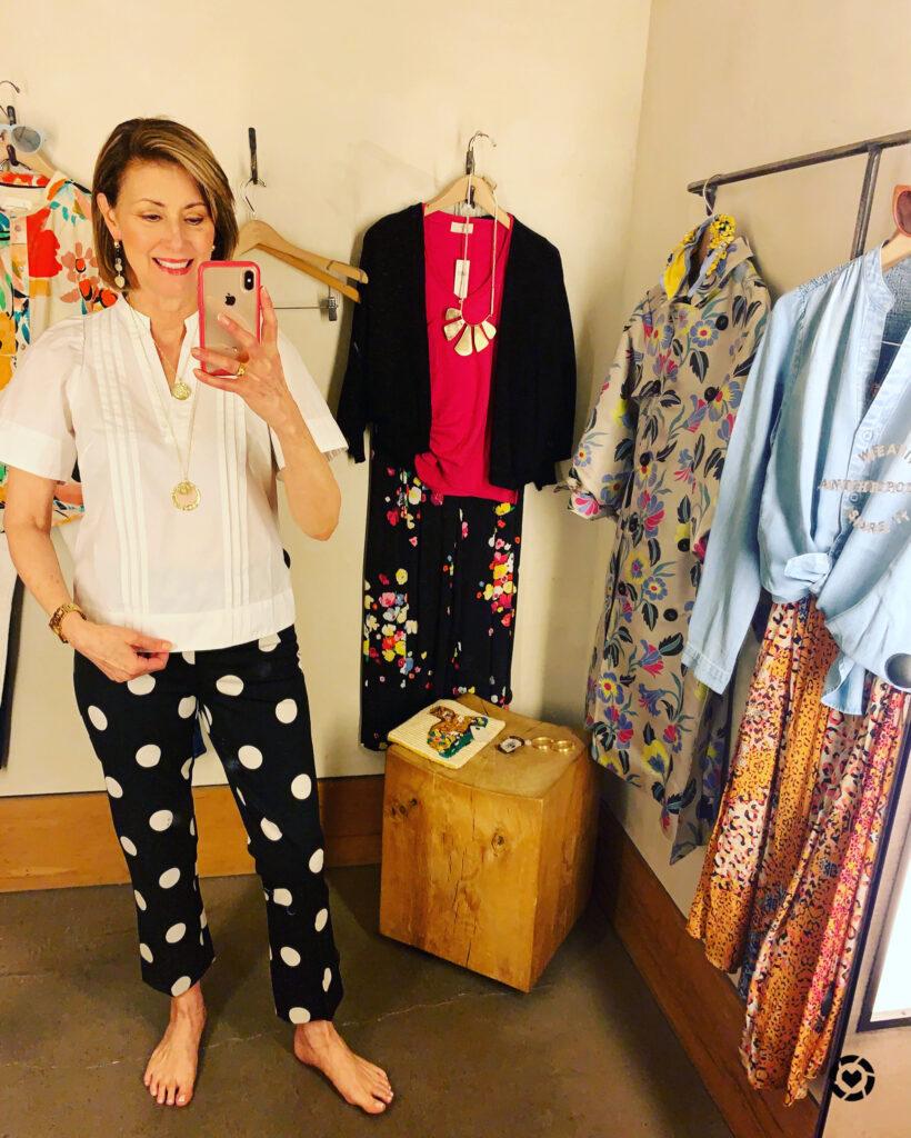 Black and white polka dot pant on Fashionomics founder
