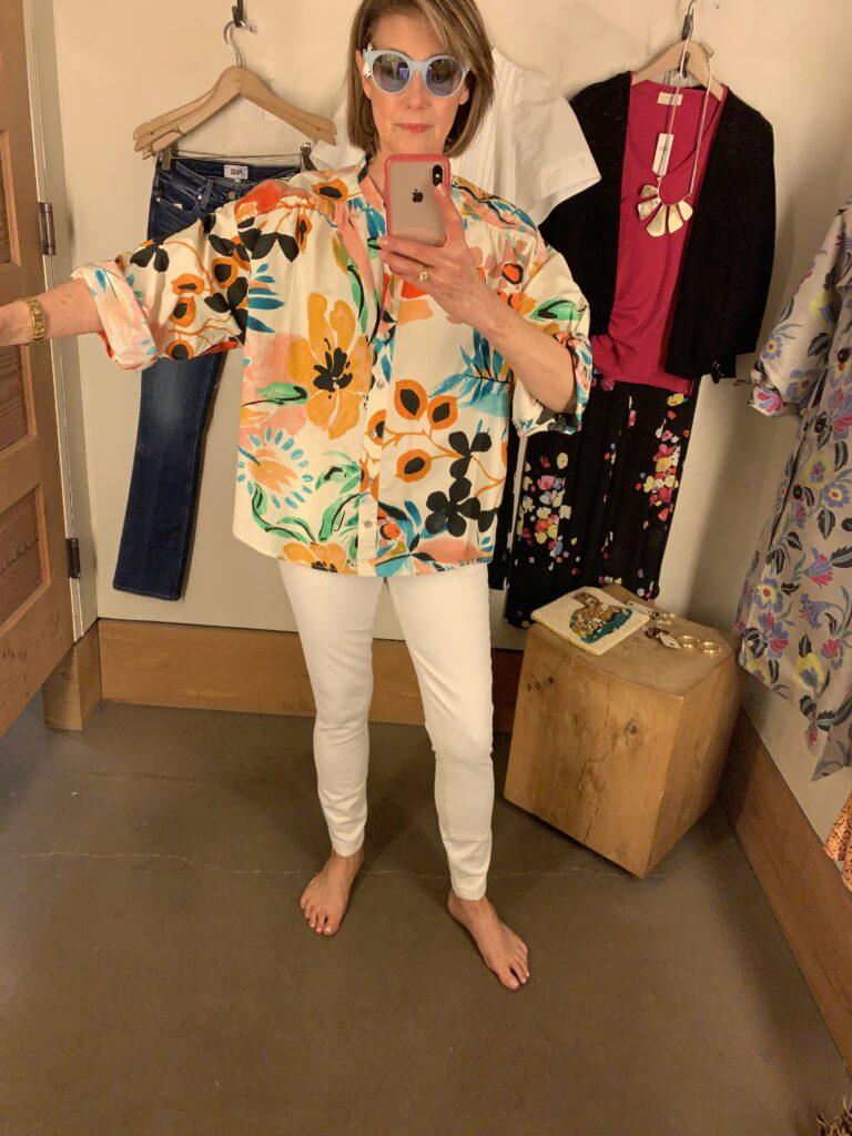 Crisanta poplin button-down blouse on Dallas blogger
