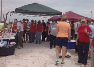 People in line for food in OK