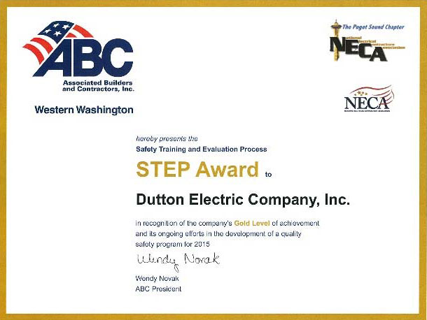 Dutton Electric safety award