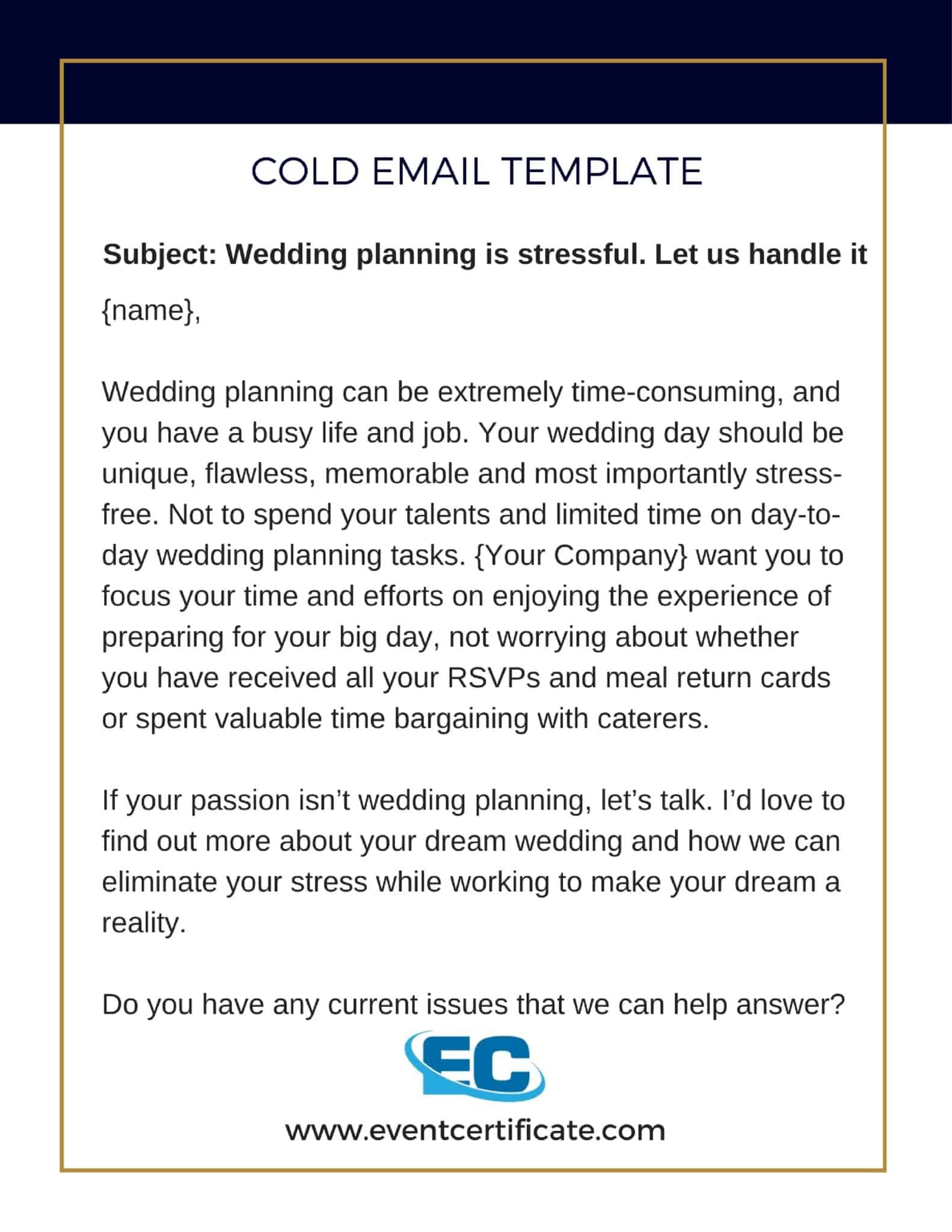 email template event planner book clients
