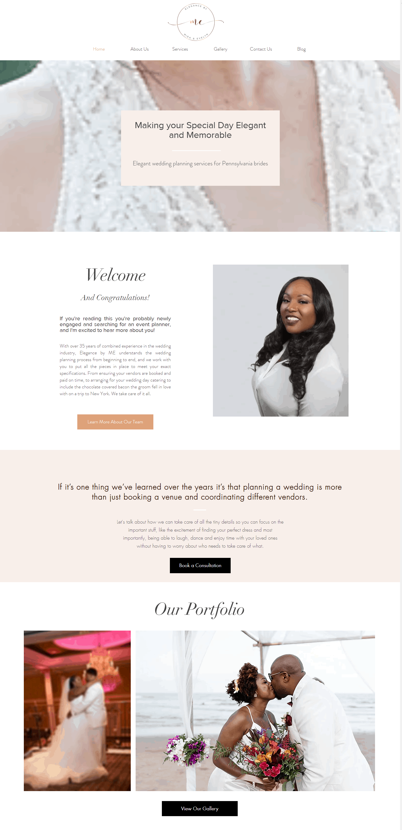 elegance by ME website design AFTER