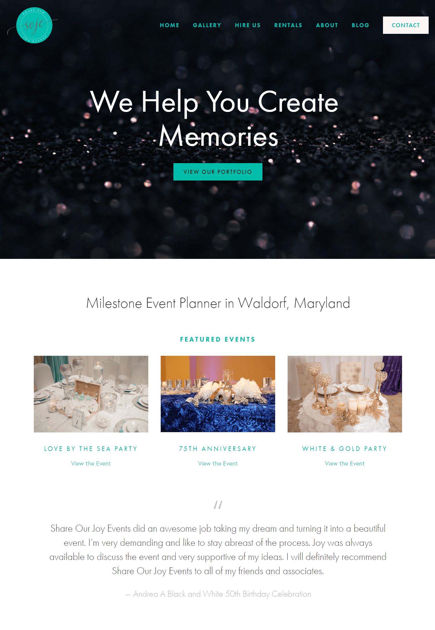Website portfolio share our joy events