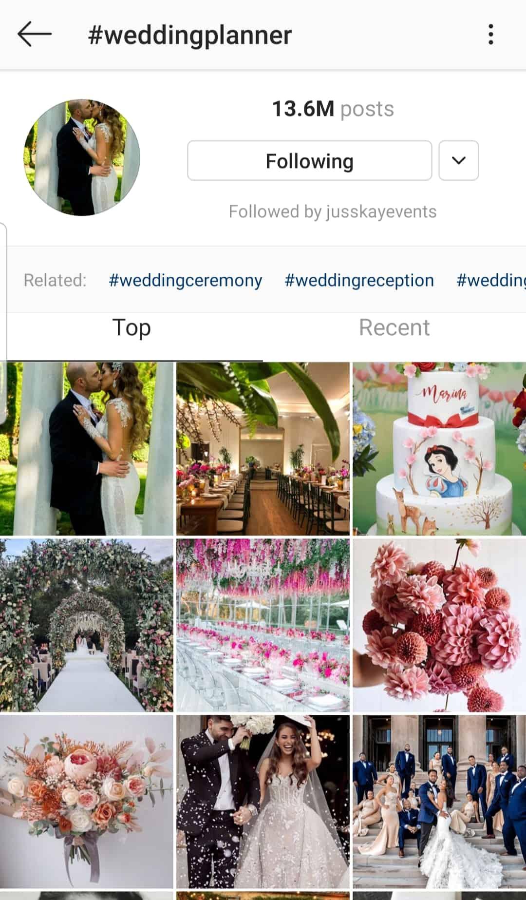 wedding planner hashtag fail