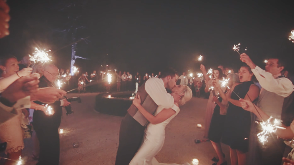 The sparklers kiss! (Wedding film Cornwall, Devon, Somerset)