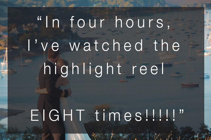 """""""In just 4 hours, I've watched the highlight reel 8 times!!!!"""" – SWWA 2019 Voter Comments – Wedding Video"""