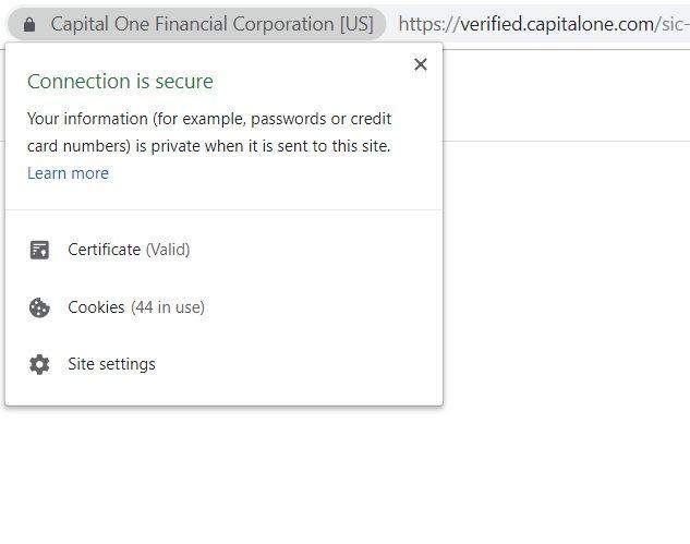 Capital One Premium SSL Certificate as shown in Google Chrome