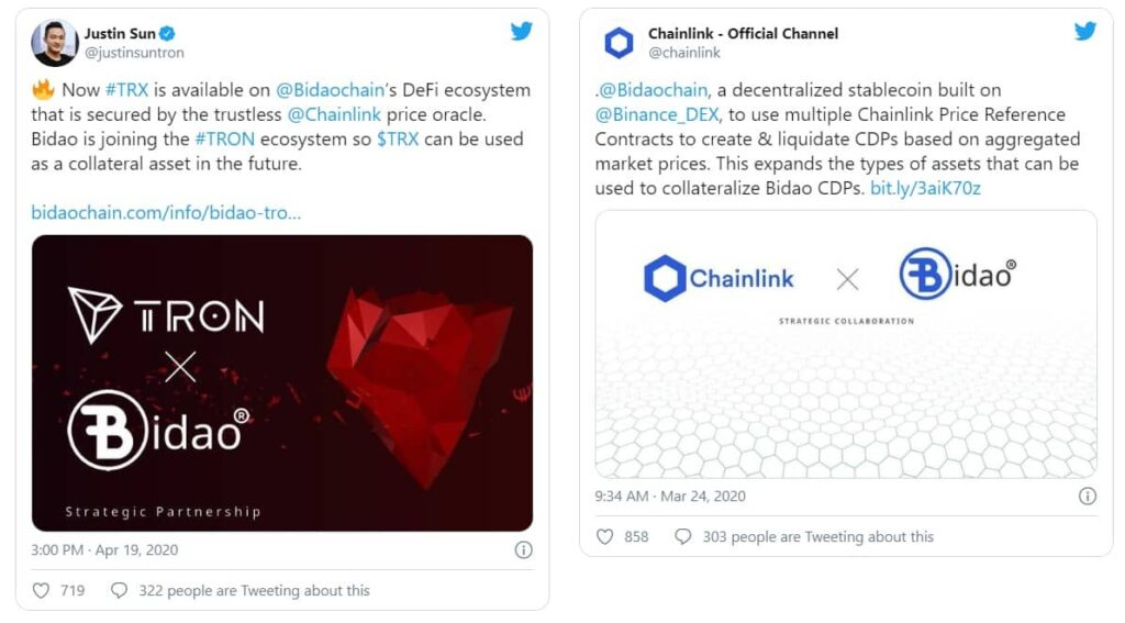 Chainlink and TRON tweets for BiDao