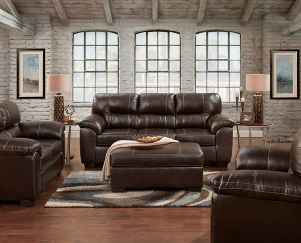 Union Furniture living room sofa loveseat brown leather