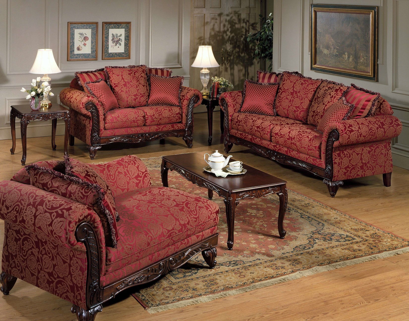 Union Furniture living room sofa loveseat red