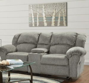 union furniture living room gray reclining loveseat and console