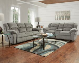 union furniture living room gray reclining set