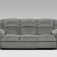 union furniture living room gray reclining sofa