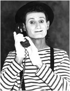 mime with phone
