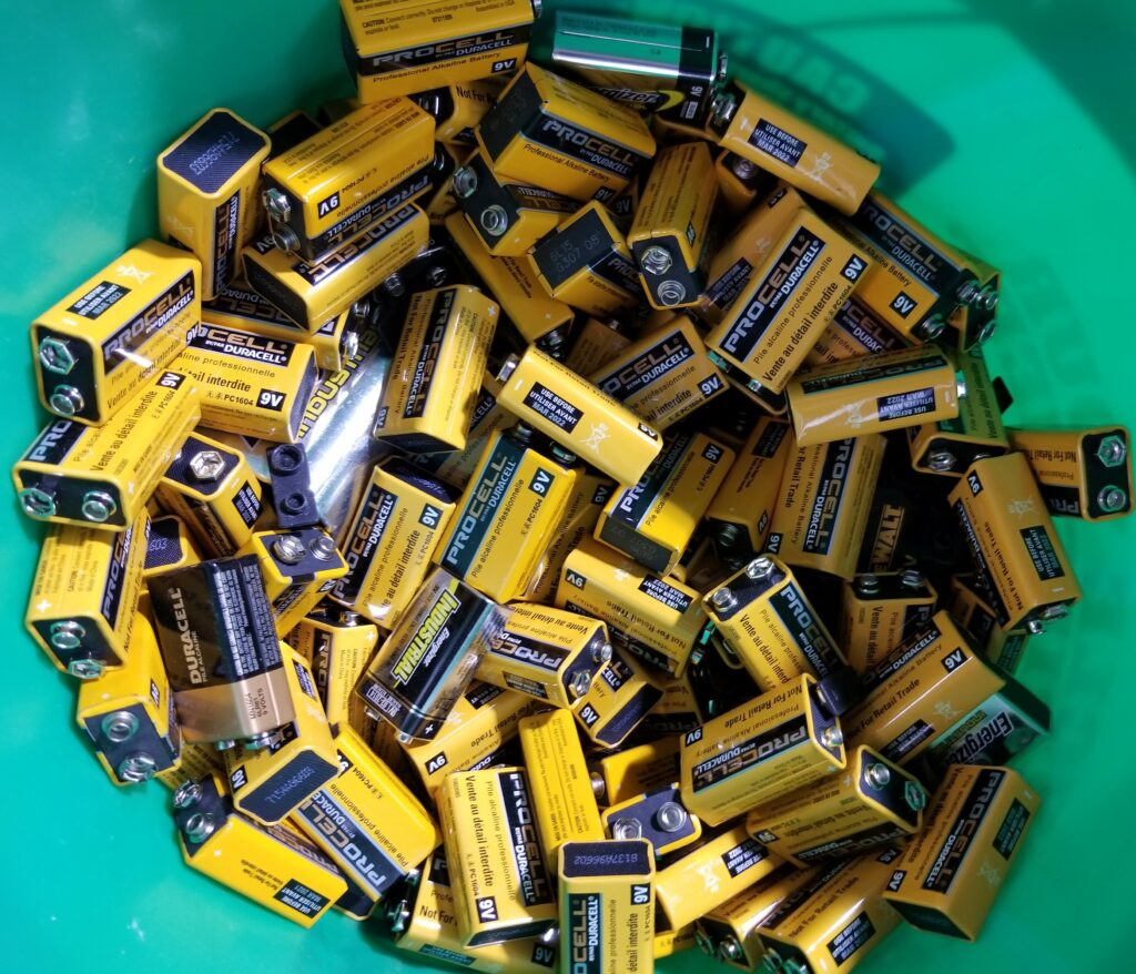 ecycle alkaline batteries for free for our commercial customers  if you buy bulk alkaline batteries from us OR if you have a healthy mix of batteries to recycle (i.e. also recycle lead batteries, such as from UPSs.    If you regularly recycle a bucket at a time  and you don't buy bulk alkalines from us, we charge $0.50 per pound.  That's pretty much what we have to pay the recycler.  We are passing the costs through, giving commercial customers the benefit of our wholesale recycling rate.