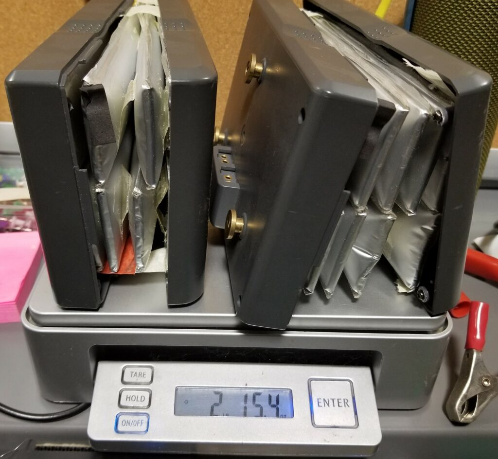 For lithium primary, lithium polymer, and damaged or swollen lithium-ion batteries, we charge $5 per pound.   All these types of batteries must be treated as hazardous material for shipping and recycling purposes.  The photo shows examples of swollen lithium-ion batteries.