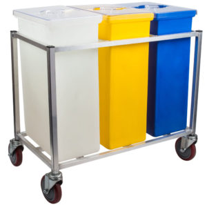 Stainless Steel 3 Bin Compartment Cart