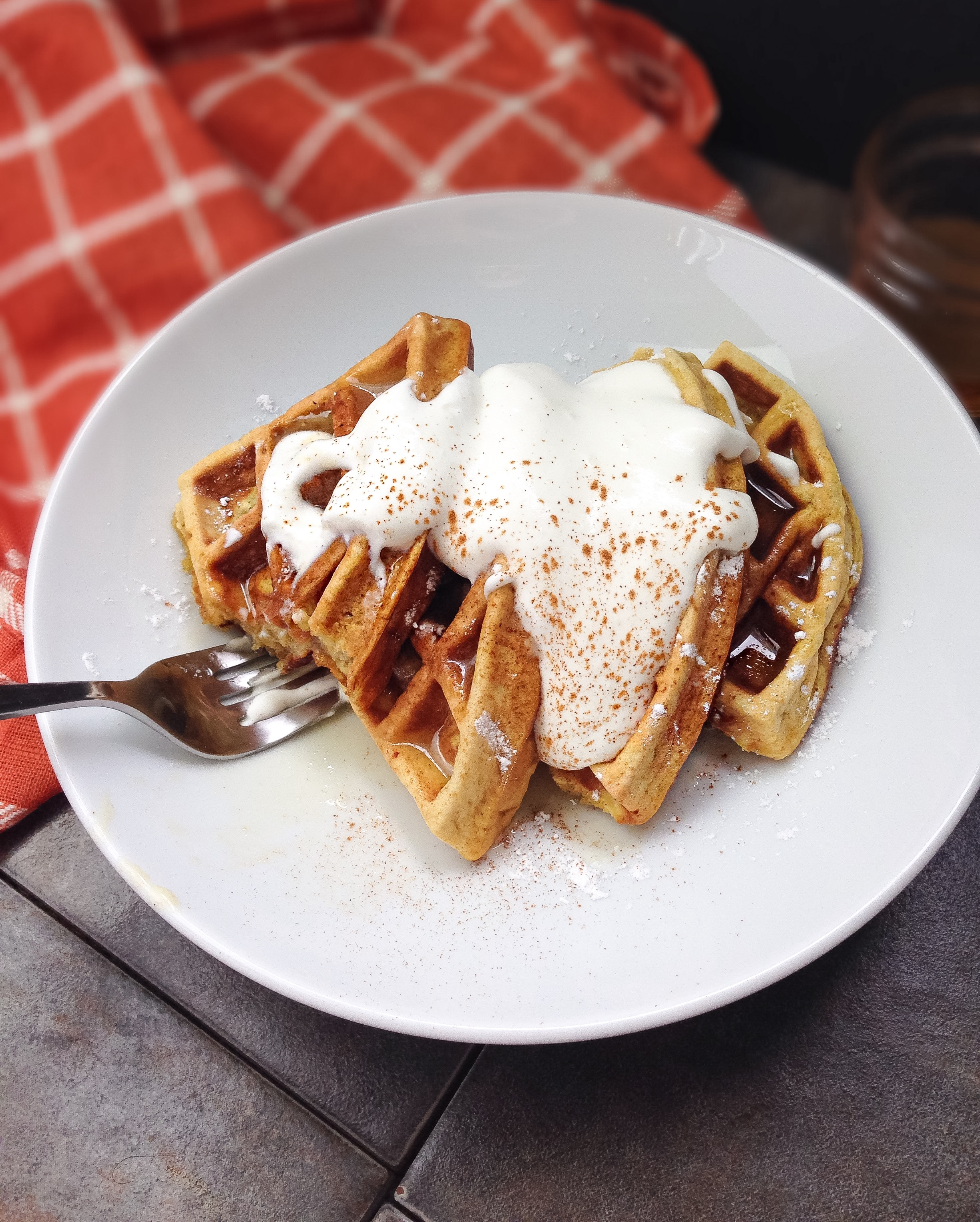 cinnamon pumpkin waffles