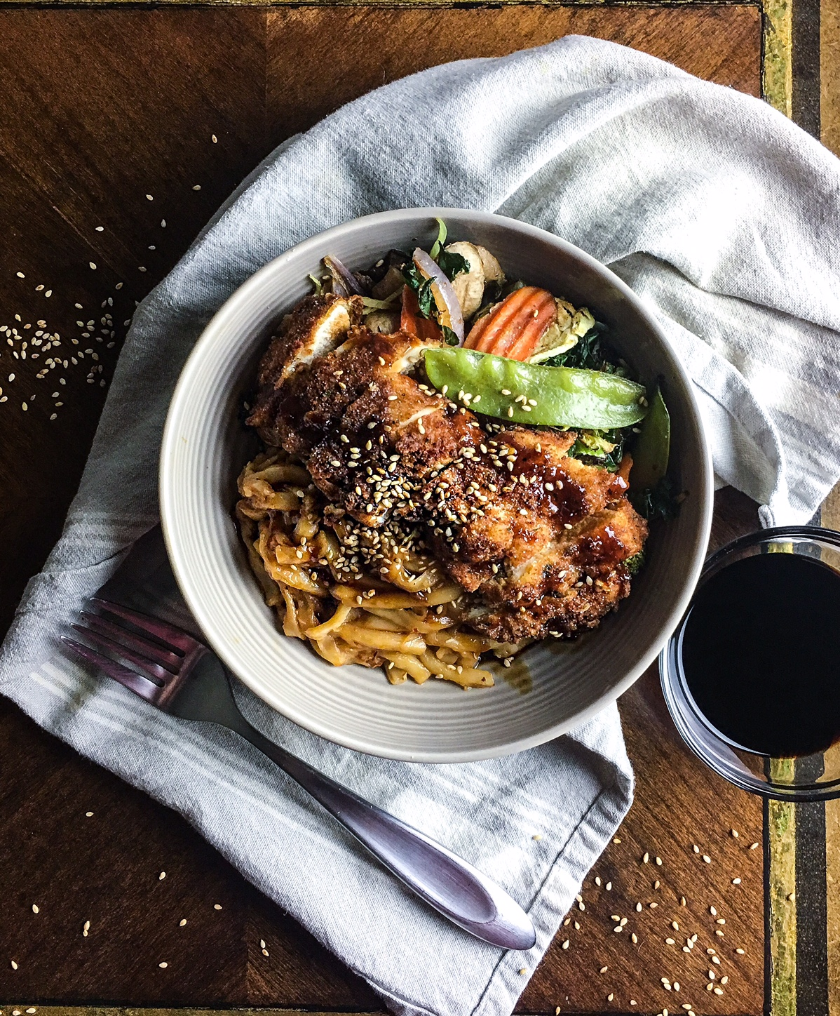 crispy chicken and udon