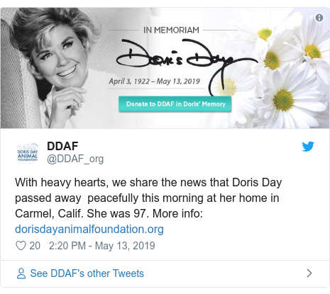 Doris Day, Hollywood actress and singer, dies aged 97 1