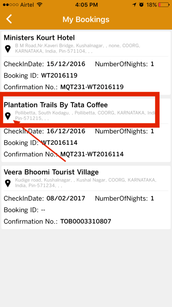 my bookings Wildtrails india app