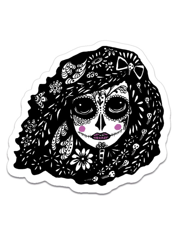 pretty day of the dead sticker