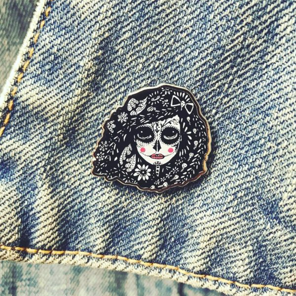Reza Day of the Dead Lapel pin