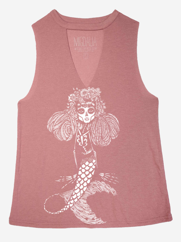 Mauve Cut Neck Tank with Muertos Mermaid Art