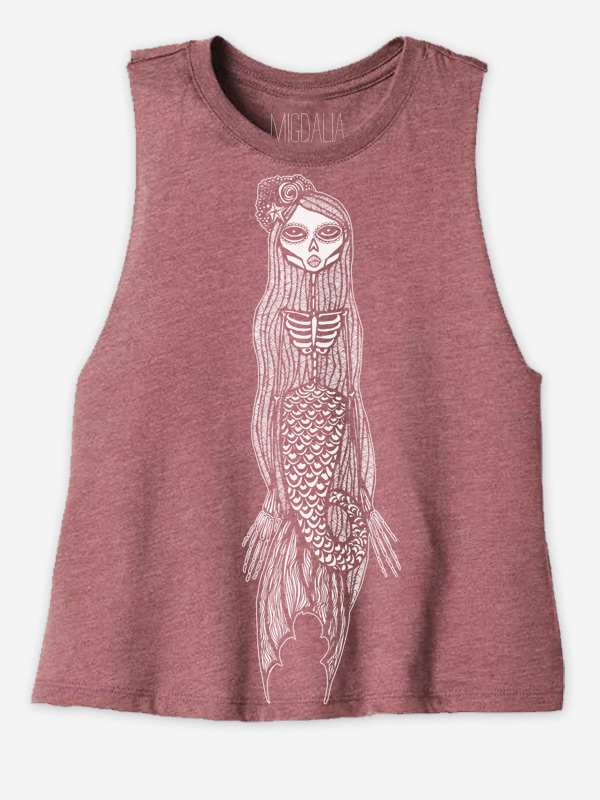 Calaveras Mermaid Racer Crop