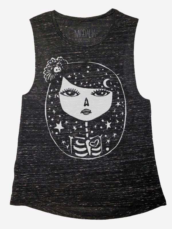 Day of the Dead Moon Girl on Muscle Tank