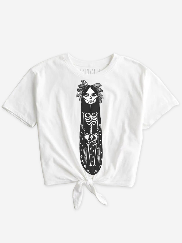 Nativa Skeleton Tie Front Shirt